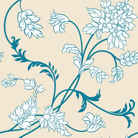 The  flower and  leafs on yellow background. Seamless Vector