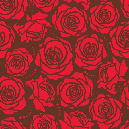 roses background: The seamless of a red roses on brown background