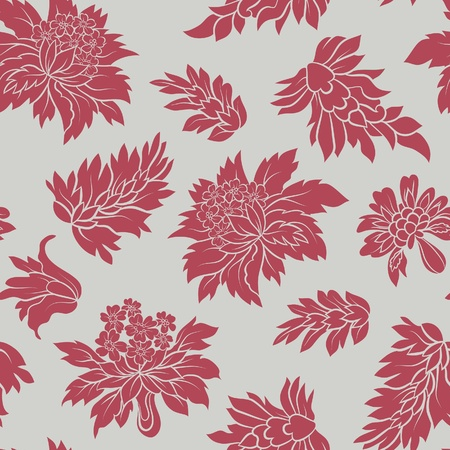 The red flowers and  leafs on grey background. Seamless Stock Vector - 12305895