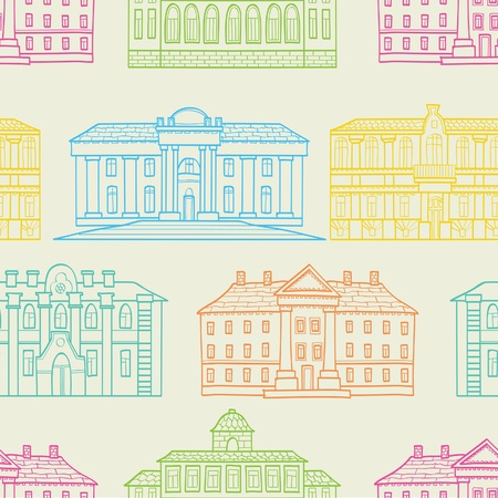 The seamless of a color outline houses Vector