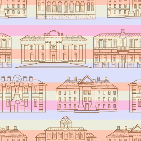 The seamless of a  outline houses with color strips Vector