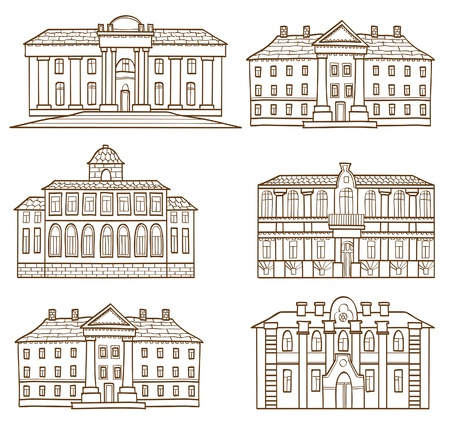 The houses drawing set Vector