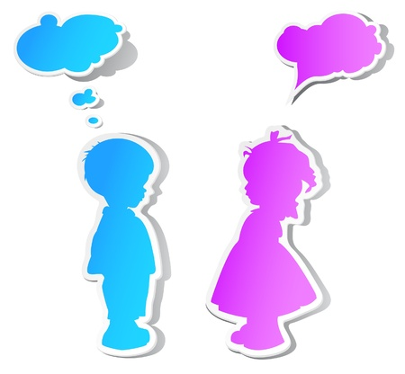 outline blue: The children with color speech bubbles and shadow Illustration