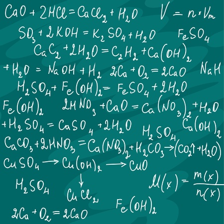 The seamless of a chemical notation on green board Vector
