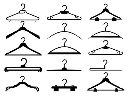Las ropas negras siluetas de rack