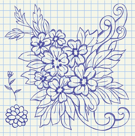 The hand drawing illustration of a flowers and leafs Vector