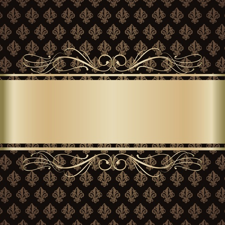 Background with gold lilies Vector