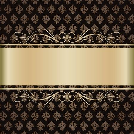 ruban noir: Contexte de fleurs de lys d'or