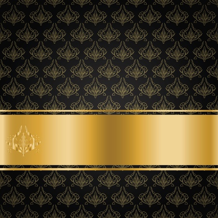 The black background with gold floral ornament and ribbon for your text Stock Vector - 13343682