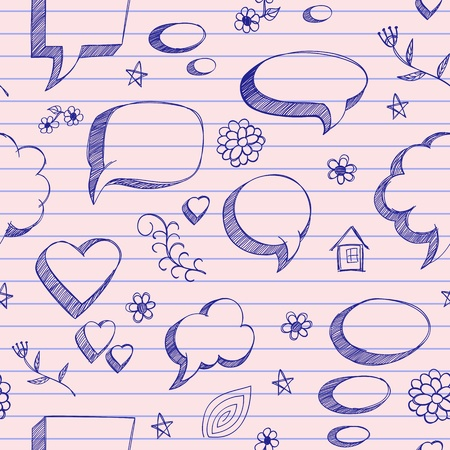 The speech bubbles seamless on pink sheet of a notebook Vector