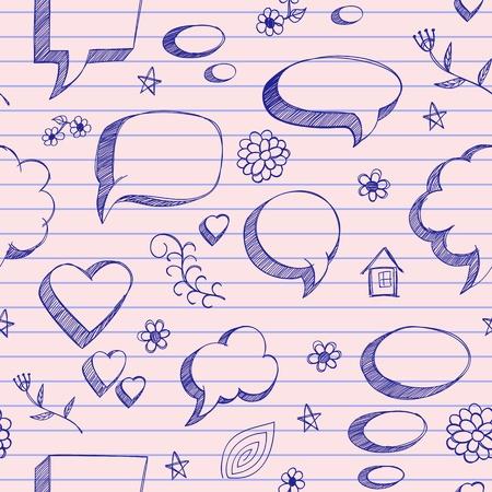 The speech bubbles seamless on pink sheet of a notebook Vector