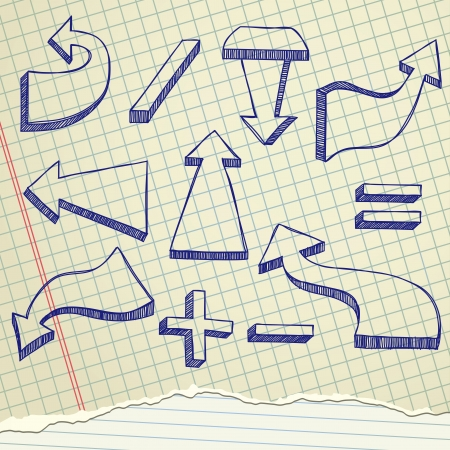 The arrows sketch set on a old paper Vector