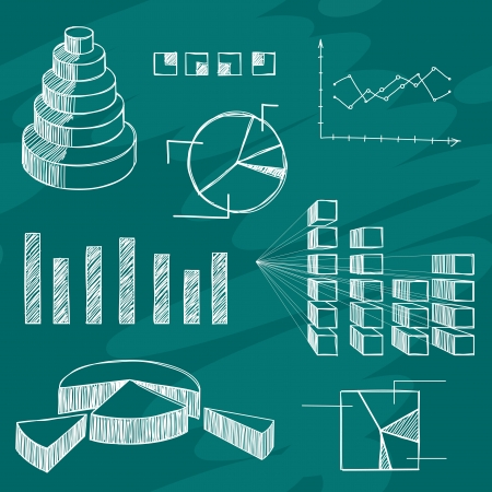 bar chart: The infographics elements sketch on green board Illustration