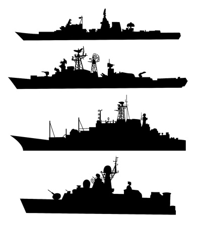 The black silhouettes of a ship  Set  Vector