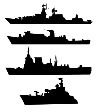 marine ship: The black silhouettes of a war ship  Set