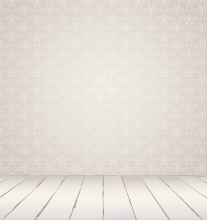 messy room: White Interior of vintage room  from gray grunge wallpaper wall and old wooden floor  Vector illustration eps 8 Illustration