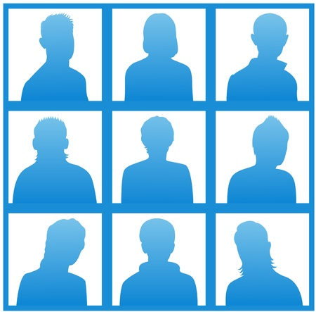 head and shoulders portrait: The blue silhouettes of a people for avatar on white background