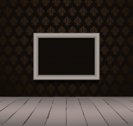 obsolete: Black interior of vintage room  from dark grunge wallpaper, gray picture frame and old wooden floor