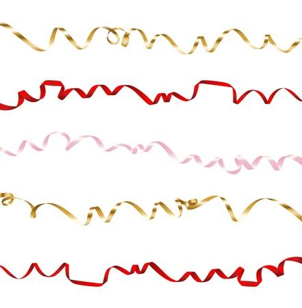Set di nastri colorati su sfondo bianco