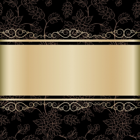 The floral black  background with gold ribbon for your text and calligraphic elements Vector