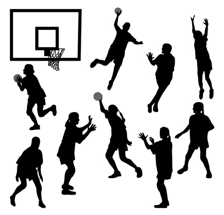 basketball hoop: The black female silhouettes playing basketball Illustration