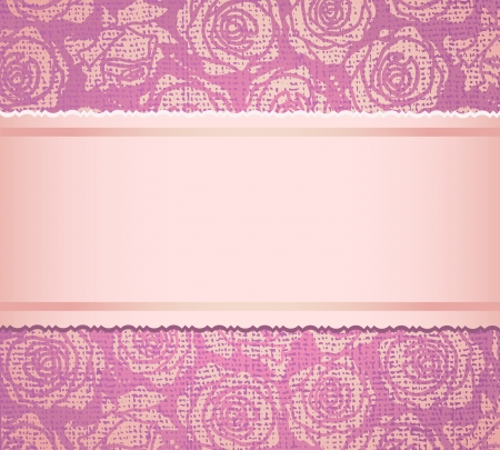 Ornate  background with fabric imitation with pink roses  Invitation to the wedding or announcements   Vector