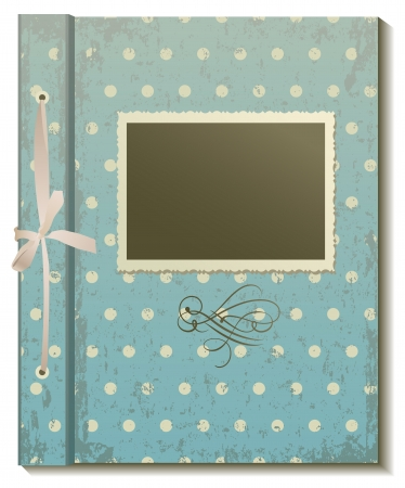 Cover an old photo album in retro style on white background Vector