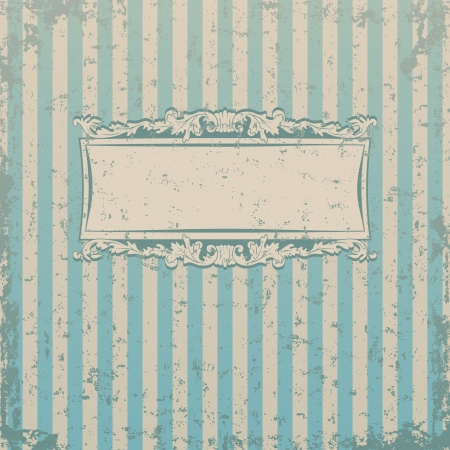 Striped retro background with floral decor and place for you text Illustration