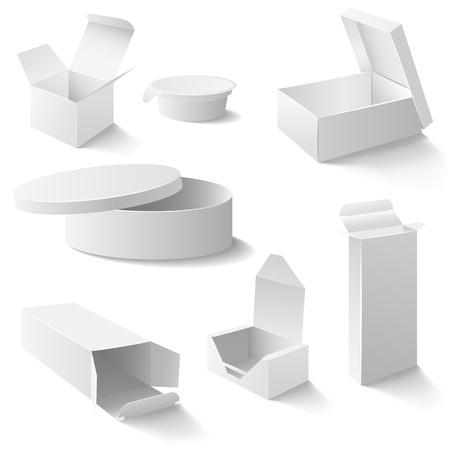 Set de boîtes blanches ouvertes Vecteurs
