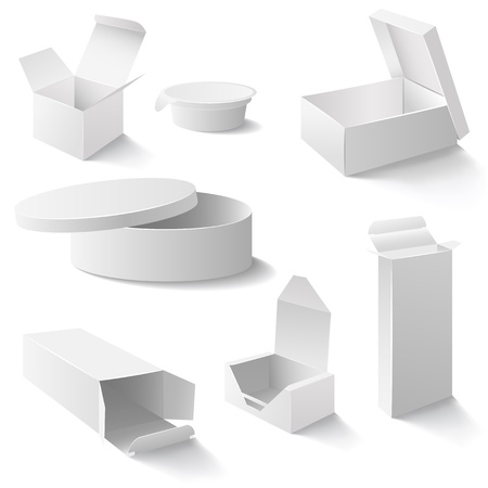carton: Set of white open boxes