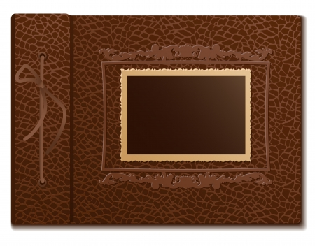 Brown skin cover a photo album  on white background Vector