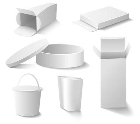 three dimensional: Set of white open boxes
