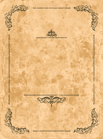 Vintage design elements on old paper sheet Stock Vector - 14976798