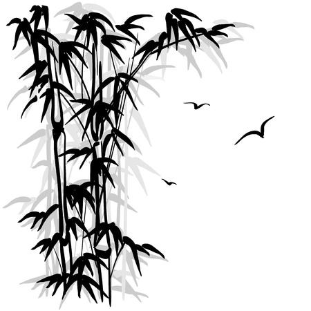 feuille de bambou: Silhouette noire d'un bambou et d'oiseaux sur fond blanc
