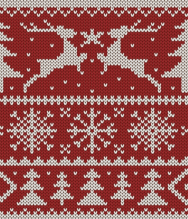 scandinavian people: White christmas ornament on red background  Knitted seamless