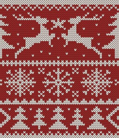 sueter: White ornamento de la Navidad en el fondo rojo de punto sin costuras