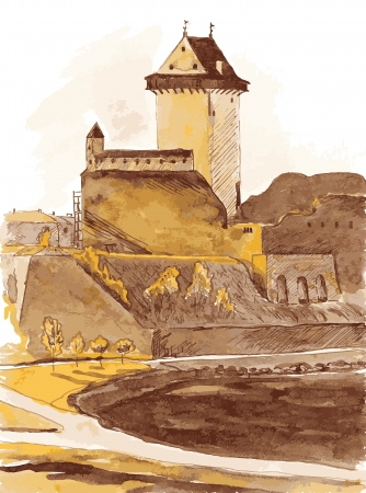 citadel: Illustration of the old fortress in the city of Narva Estonia  Color ink Illustration