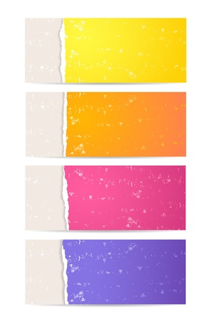 Four color banners with torn paper and grunge texture Stock Vector - 15350721