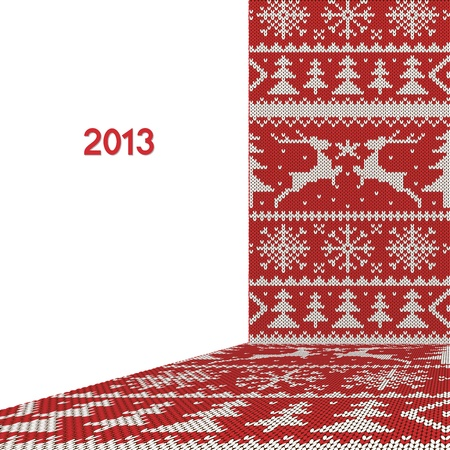 spruce thread: White christmas ornament on red background  New year knitted fabric