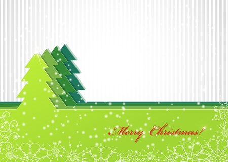 Christmas background with green trees Stock Vector - 15350722