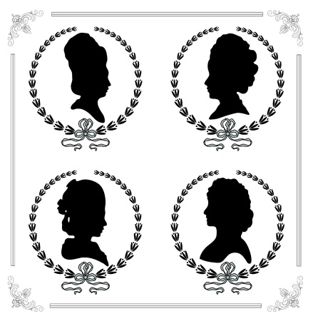 victorian fashion: Female silhouettes in profile as a cameo