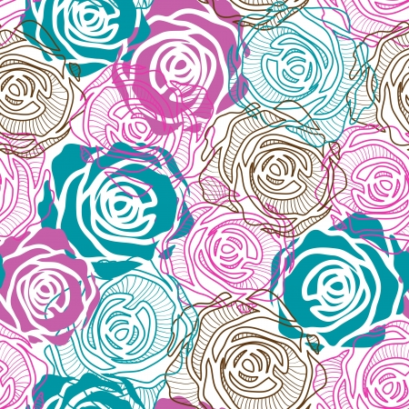 The seamless of a color roses on white background Vector