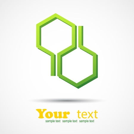 business communication: Honeycomb design element on gray background and place for your text