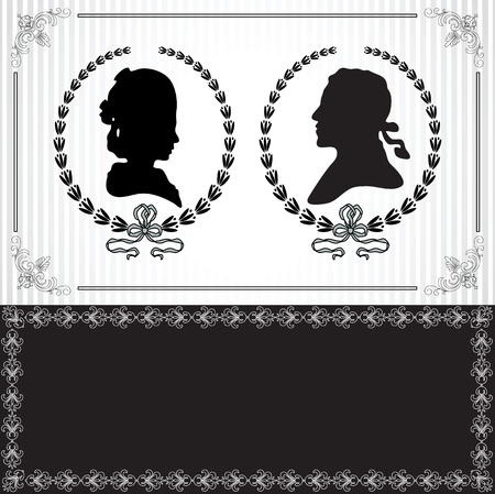 cameo: Wedding invitation with black silhouettes of lady and gentleman
