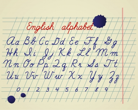cartoon numbers: English alphabet. Hand drawing english letters and numbers on school notebook