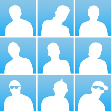unrecognizable person: The white silhouettes of a people for avatar on blue background Illustration