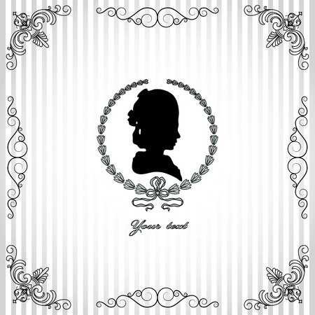 draftsmanship: Gray background with black silhouette of lady vignette frame