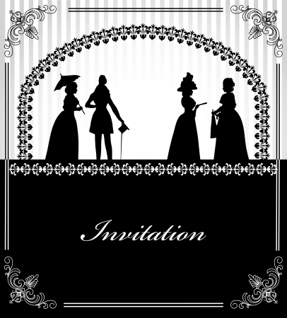 baroque frames: Wedding invitation with black silhouettes of lady and gentleman