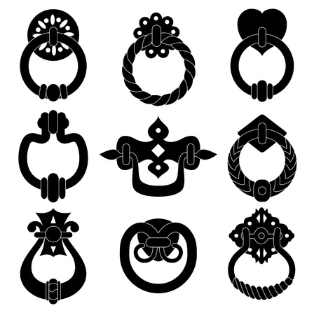 Black  door handle silhouettes set Vector