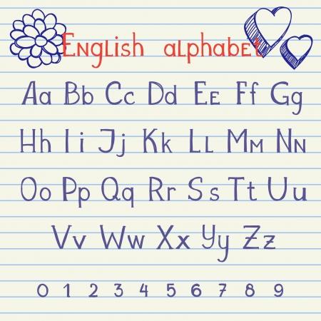 notebook icon: Disegno a mano inglese lettere e numeri sul quaderno di scuola Vettoriali